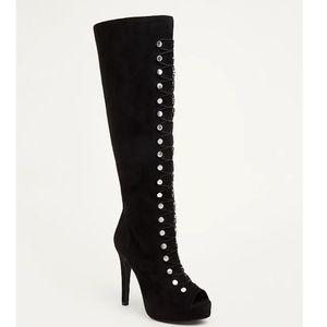 NWOT Torrid lace up stud peep toe heel boots
